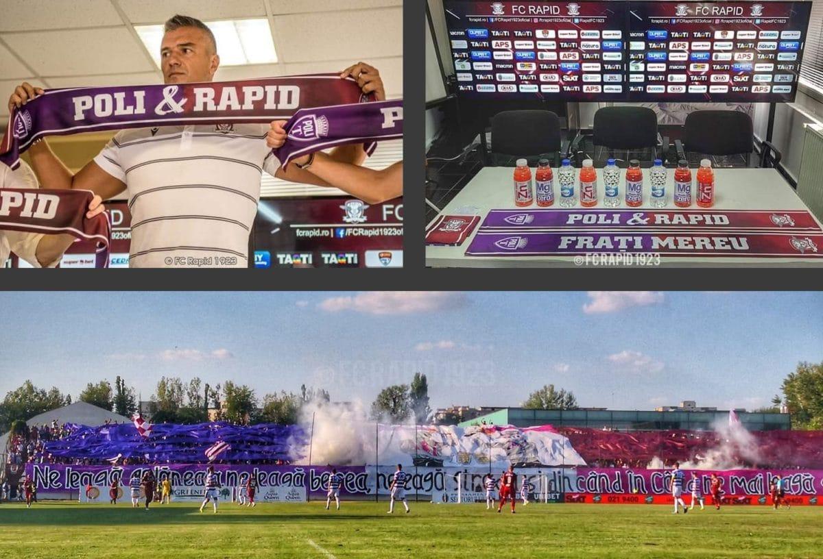 Sus: prezentare eșarfă Poli & Rapid, Daniel Pancu; Jos: Imagine de la meciul Rapid – Poli 1-0, 24 august 2019. Foto credit @FC Rapid 1923