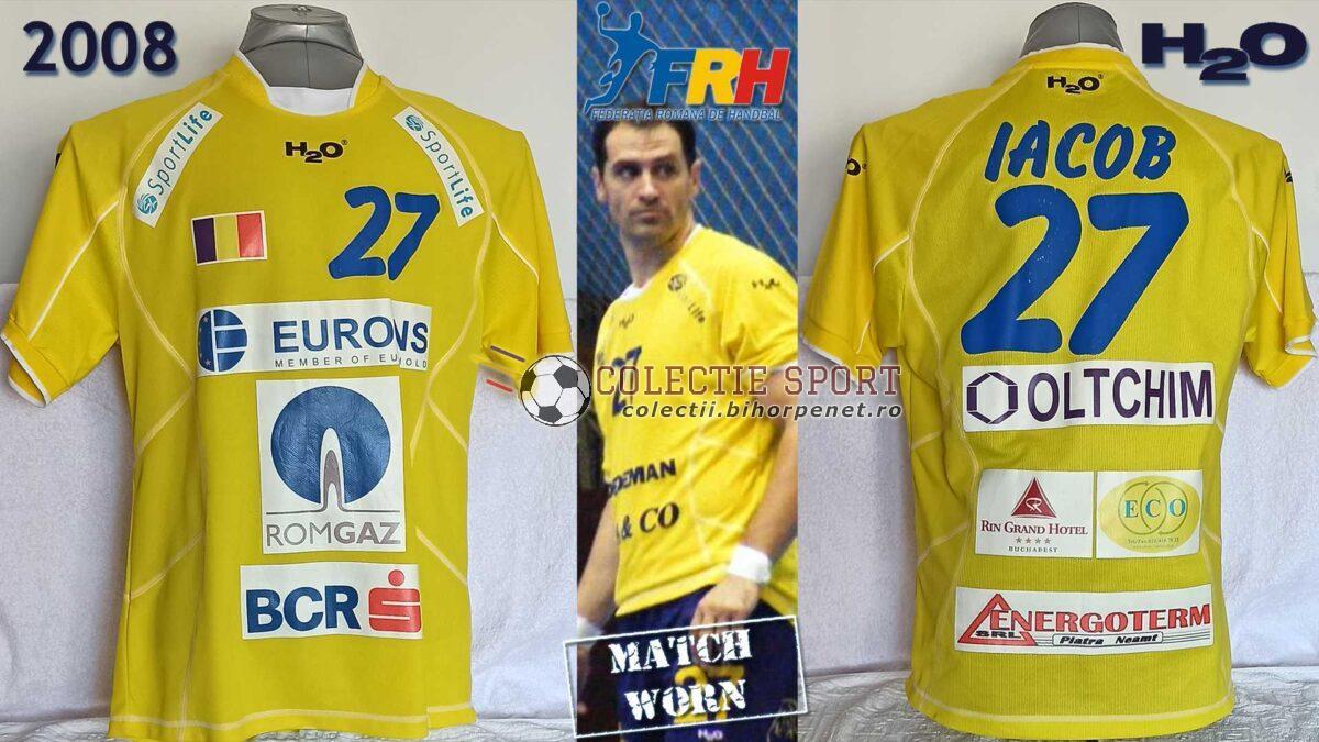 Tricou al echipei naționale de handbal masculin a României, match worn, marca H2O, 27. Sandu Iacob.