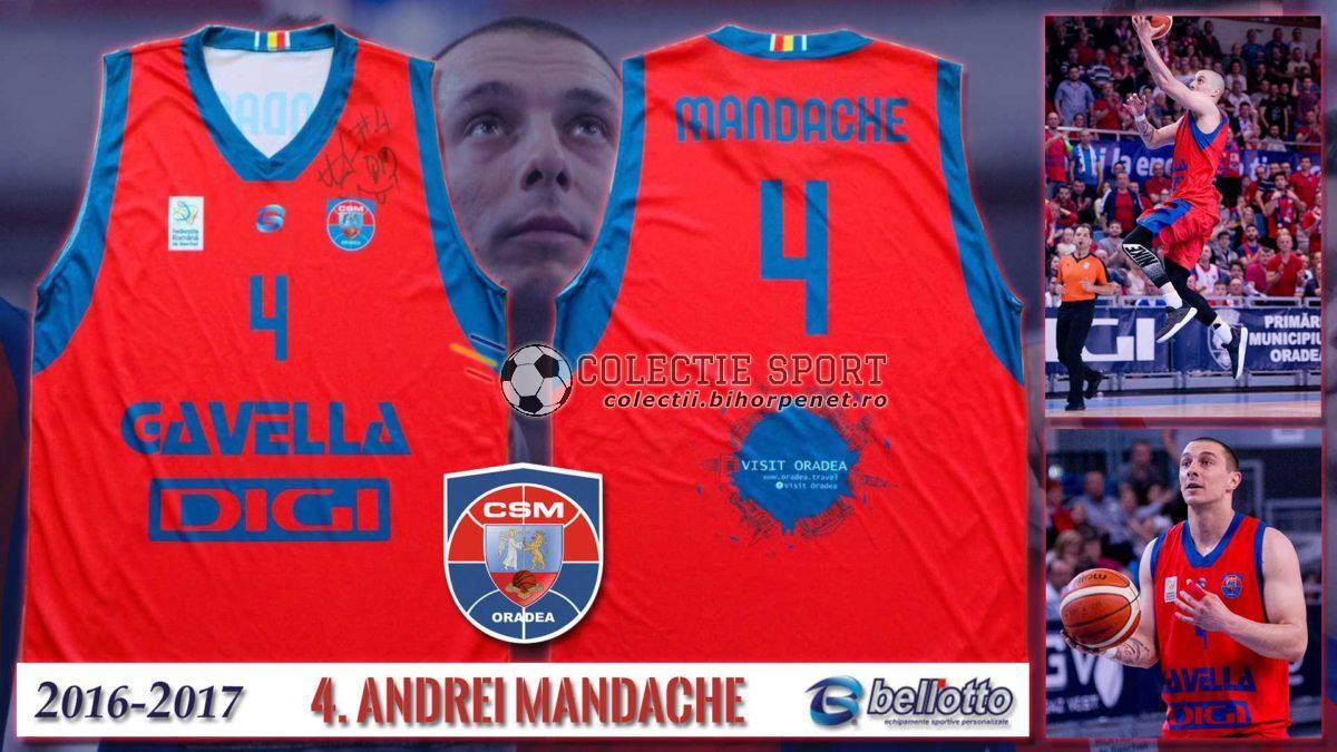 Maieu oficial CSM Oradea 2016-2017, Bellotto, 4. Andrei Mandache, varianta de deplasare, cu autograf de la jucător.