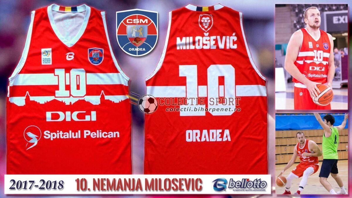 Maieu oficial CSM Oradea 2017-2018, Bellotto, 10. Nemanja Milosevic, varianta de deplasare.