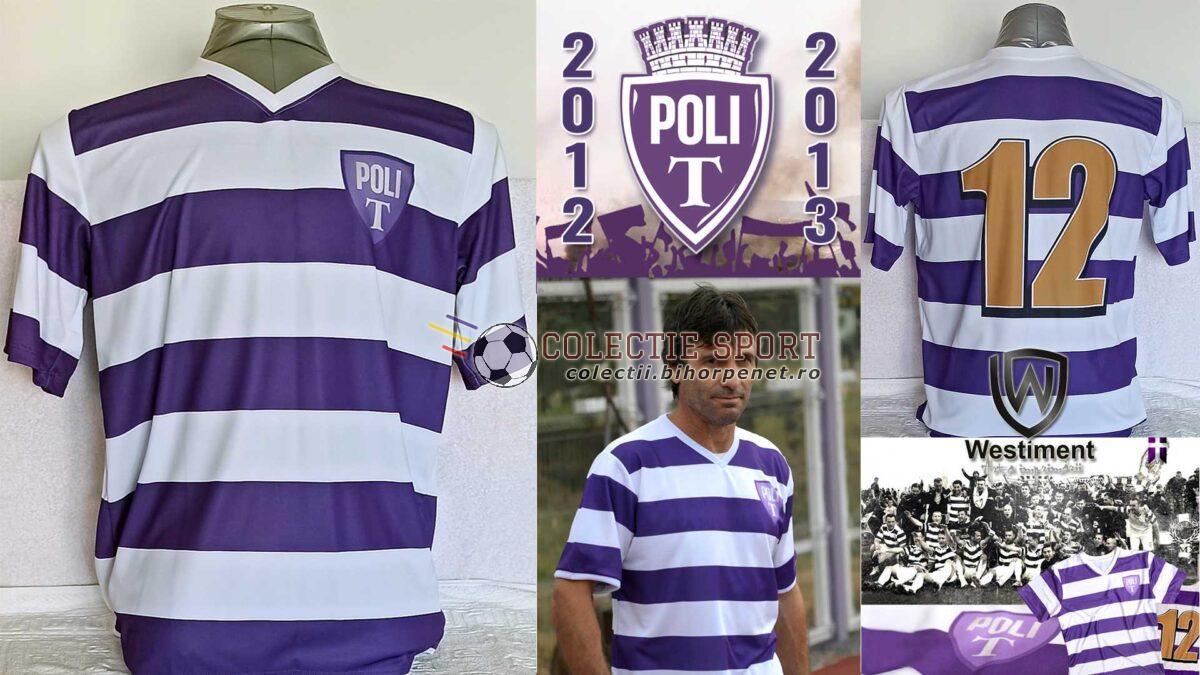 Tricou de joc acasă, ASU Politehnica, 2012/2013. În centru, Iosif Rotariu în tricoul alb-violet. Foto credit: https://www.sspolitehnica.ro/