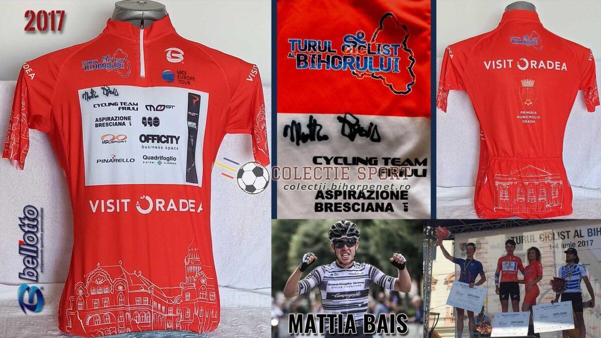 Tricoul roșu Turul Bihorului 2017, purtat și semnat de câștigătorul categoriei, Mattia Bais, Cycling Team Friuli