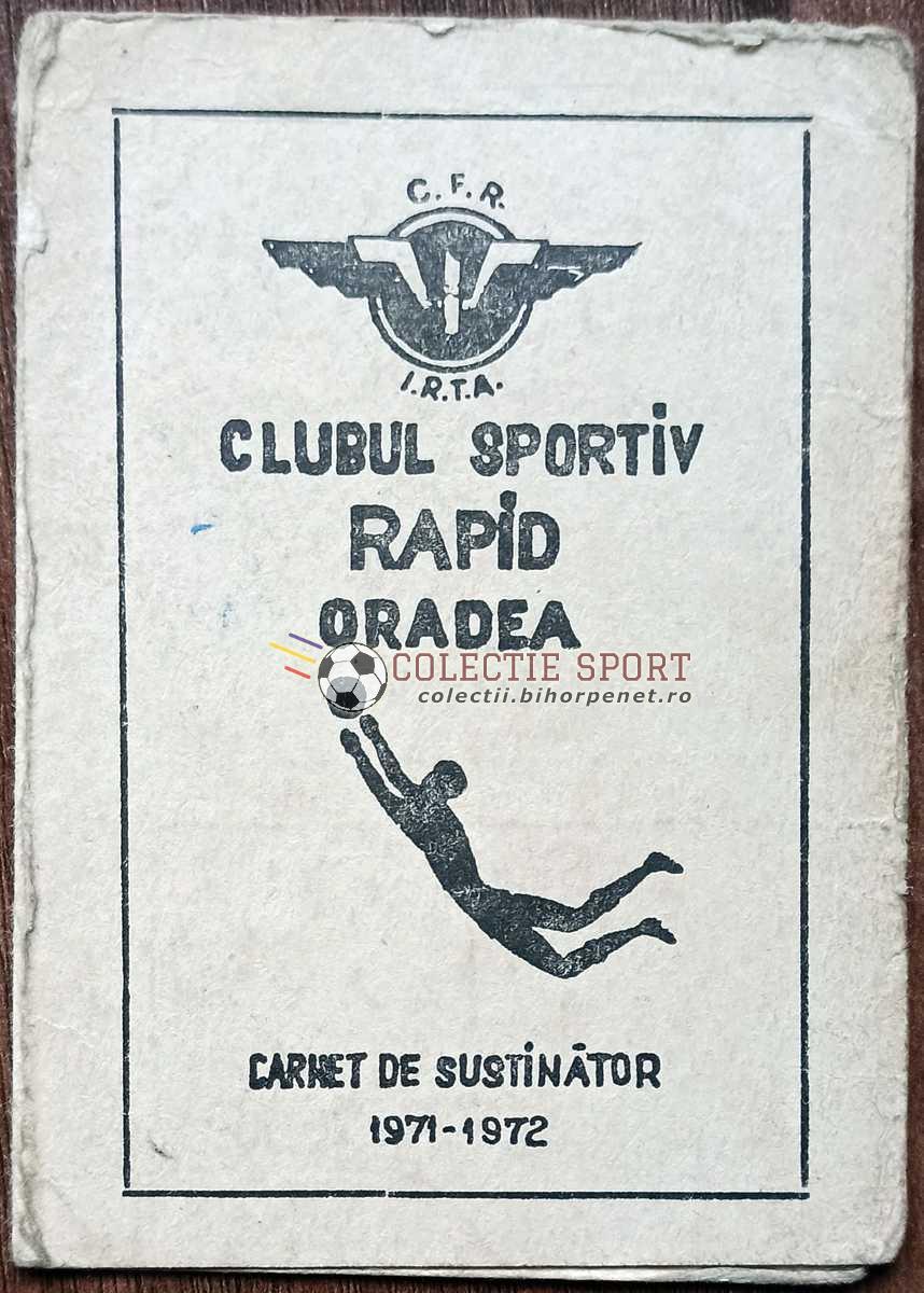 Carnet susținător Rapid Oradea 1971-1972