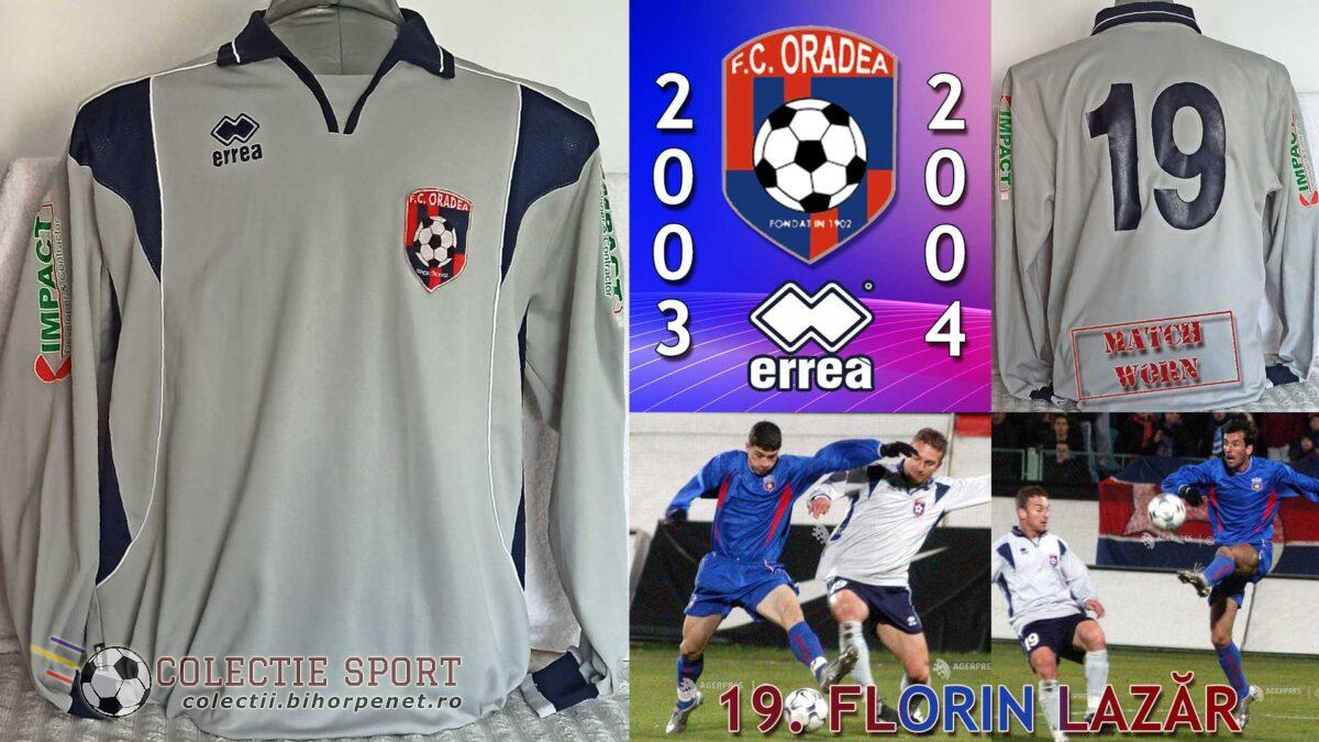 Tricou FC Oradea, 2003-2004, Divizia A, Errea, 19. Florin Lazăr. Foto credit: https://foto.agerpres.ro/