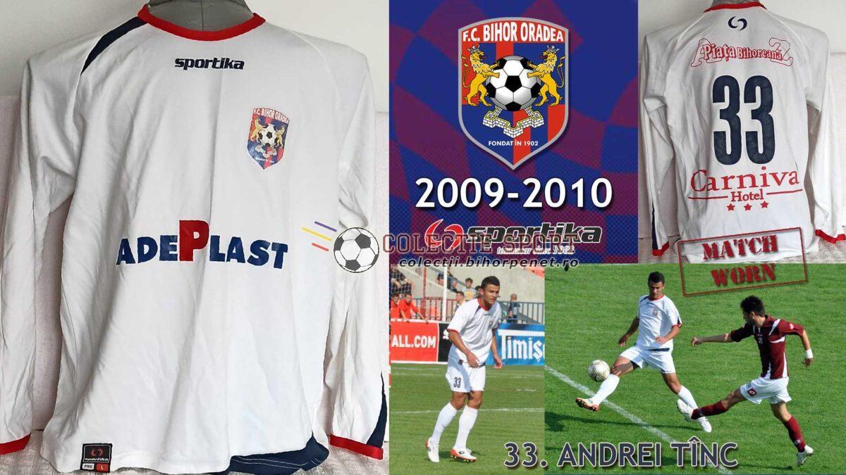 Tricou de joc FC Bihor Oradea, 2009-2010, Sportika, 33, Andrei Tînc.