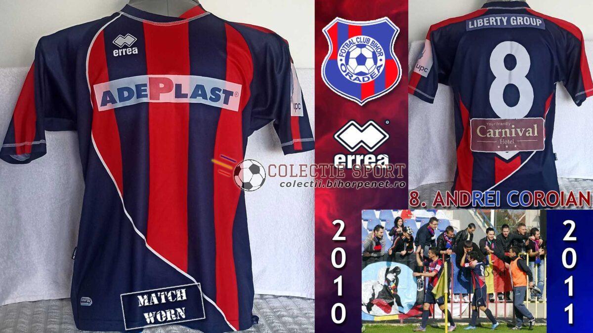 Tricou de joc FC Bihor, Errea, 8. Andrei Coroian. Acest model de echipament a fost folosit în turul ediției 2010-2011. Foto credit: liga2.prosport.ro